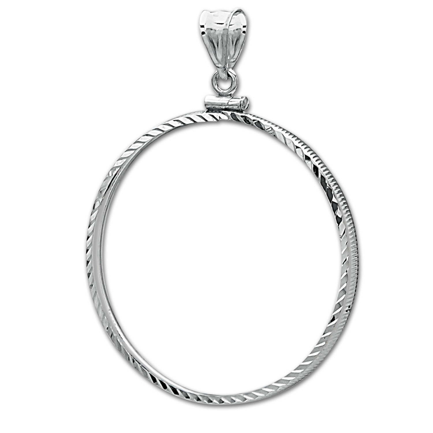 Sterling Silver Screw Top Diamond Cut Coin Bezel - 39.4mm
